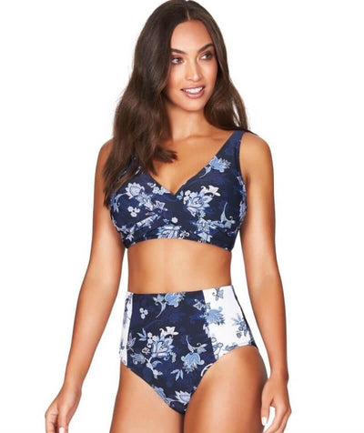 Sea Level Paisley Floral Cross Front B-DD Cup Bikini Top - Navy - Model - Front