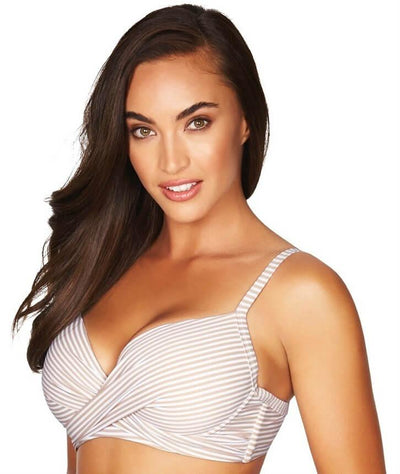 Sea Level Sorrento Stripe Cross Front Moulded Underwire D-DD Cup Bikini Top - Stone - Side
