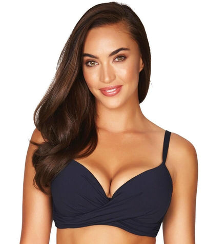 Sea Level Essentials Cross Front Moulded Underwire D-DD Cup Bikini Top - Night Sky Navy - Front
