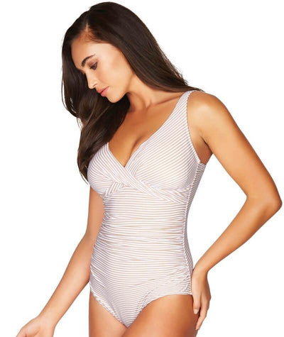 Sea Level Sorrento Stripe Cross Front B-DD Cup One Piece Swimsuit - Stone - Side