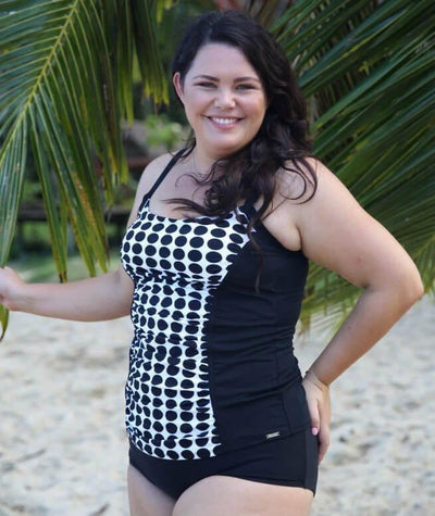 Capriosca Chlorine Resistant Panelled Tankini Top - Black & White Dots - Model - Side
