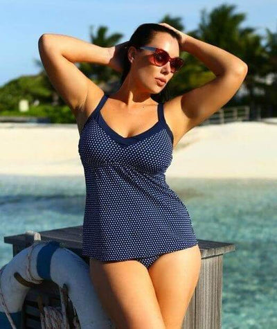 Capriosca Chlorine Resistant Underwire Tankini Top - Navy & White Dots - Model