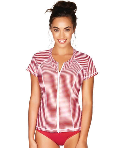 Sea Level Sorrento Stripe Short Sleeved B-DD Cup Rash Vest - Full Zipper - Red - Front