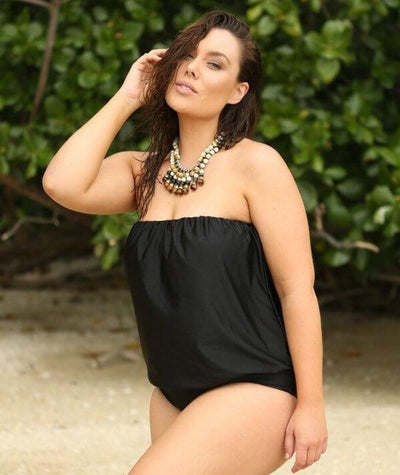 Capriosca Flouncy Bandeau One Piece Swimsuit - Black - Model - Side