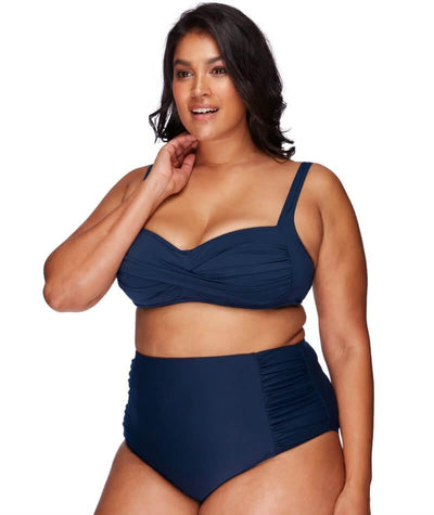Artesands Rouched Side High Waist Brief - Navy - Model - Front