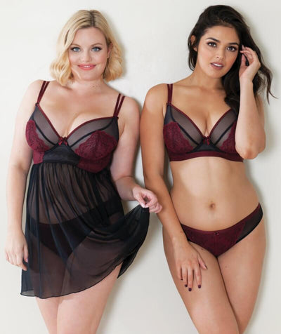 Curvy Kate Dragonfly Babydoll - Black/Wine - Model - Front