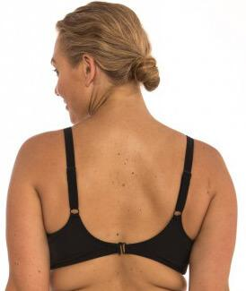 "Capriosca Plain Matt Bikini Top with Shirring - Black ""BAck"""