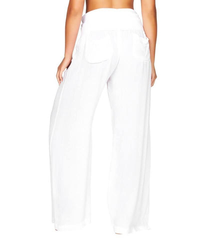 Sea Level Plains Folded Band Beach Pant - White - Back
