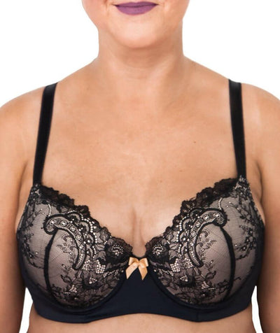 Lady Emprezz Rizzo Padded Shaping Bra - Black/Nude - Front