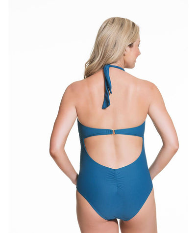 Rosewater Iced Tea Maternity Halter Swimsuit -  Teal
