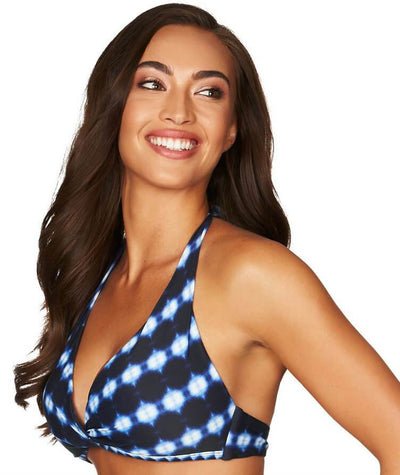 Sea Level Bandhani D-DD Cup Halter Bikini Top - Navy