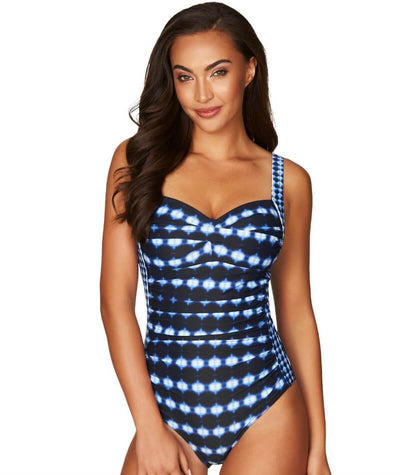 Sea Level Bandhani Twist Front B-DD Cup One Piece Swimsuit - Navy