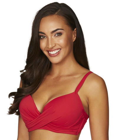 Sea Level Essentials Cross Front Moulded Underwire D-DD Cup Bikini Top - Red