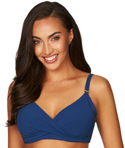 Sea Level Riviera Rib Twist Front DD-E Cup Bikini Top - Ocean Blue