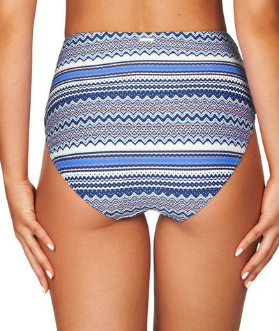 Sea Level Rosita Stripe High Waist Bikini Brief - Ocean Blue