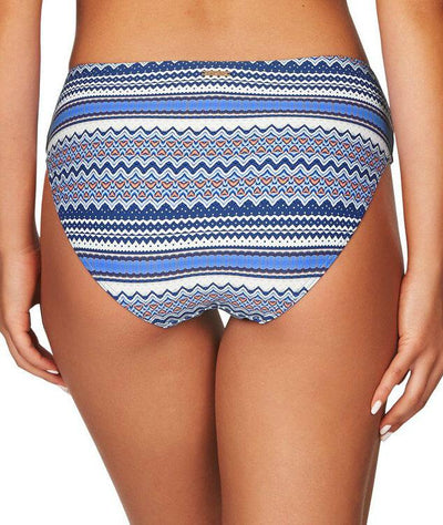 Sea Level Rosita Stripe Spliced Mid Bikini Brief - Ocean Blue