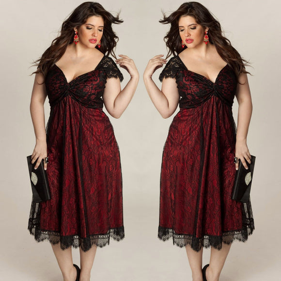 Plus Size Sleeveless Lace Long Evening Party Prom Gown Formal Dress