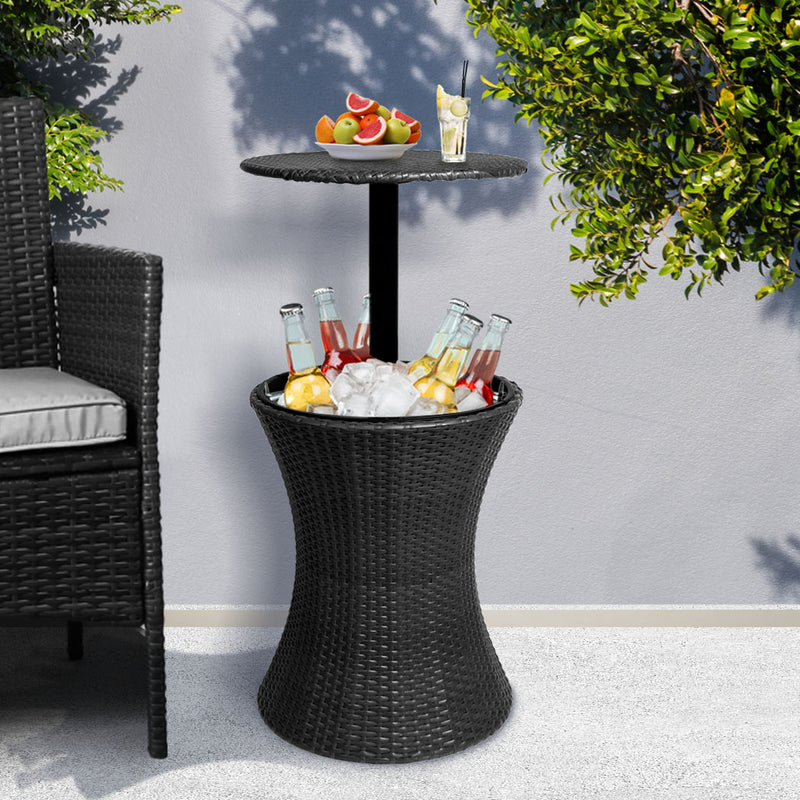 Cooler Ice Bucket Table Bar Outdoor Setting Furniture Patio Pool Storage Box Black