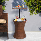 Cooler Ice Bucket Table Bar Outdoor Setting Furniture Patio Pool Storage Box Brown - Australian Offers Store