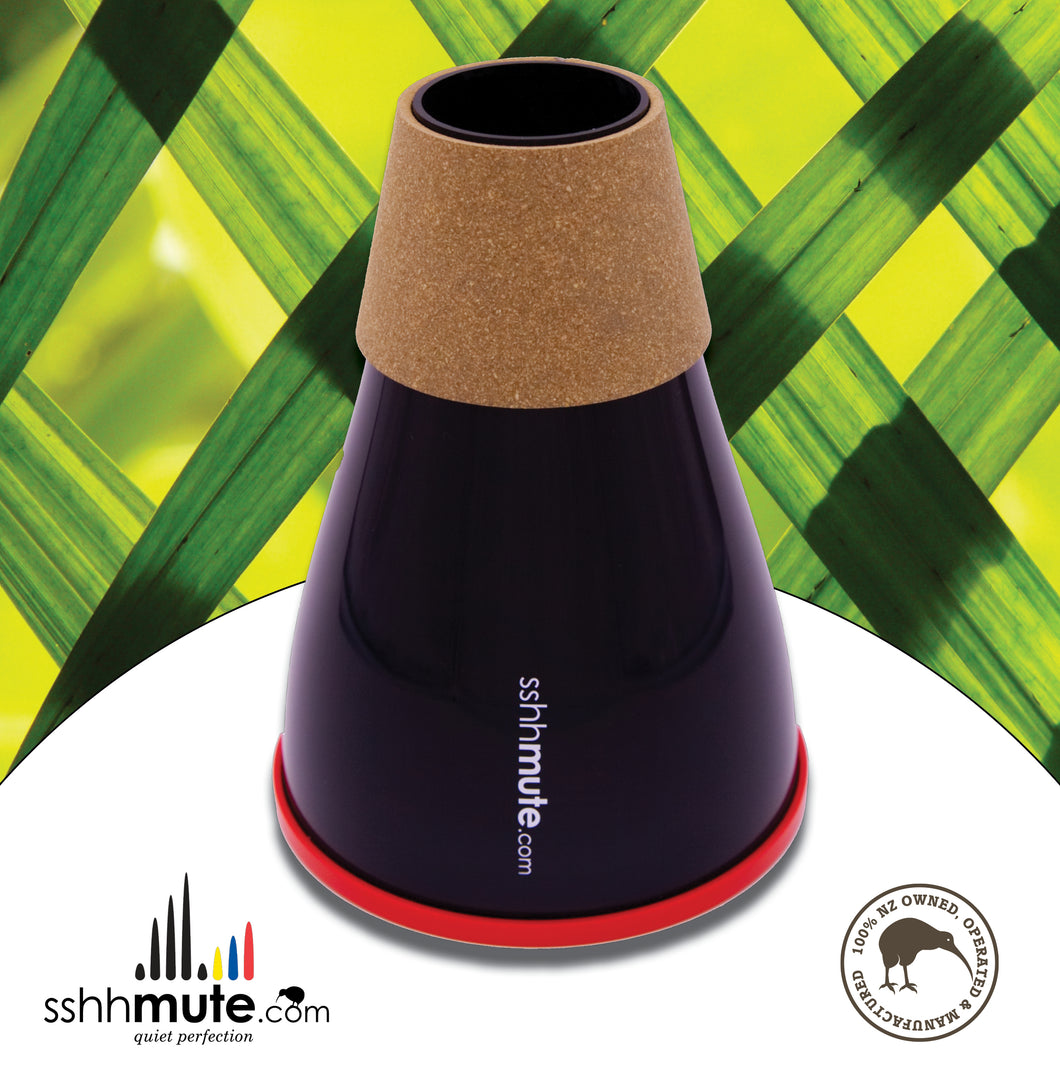sshhmute Practice Mute for Bass Trombone - Limited Edition Silver Fern