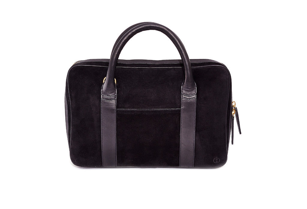 Black Suede Slim Briefcase