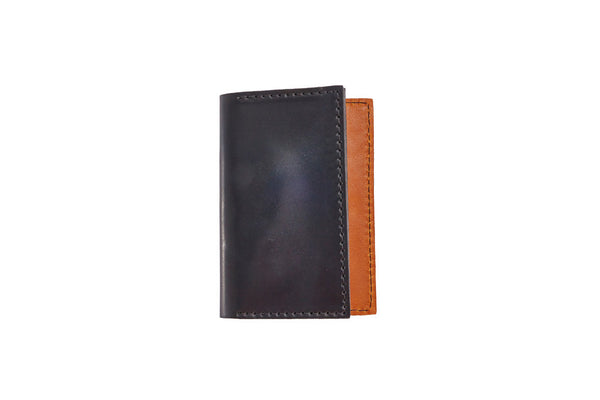 Shell Cordovan Card Case (Black on Hickory)