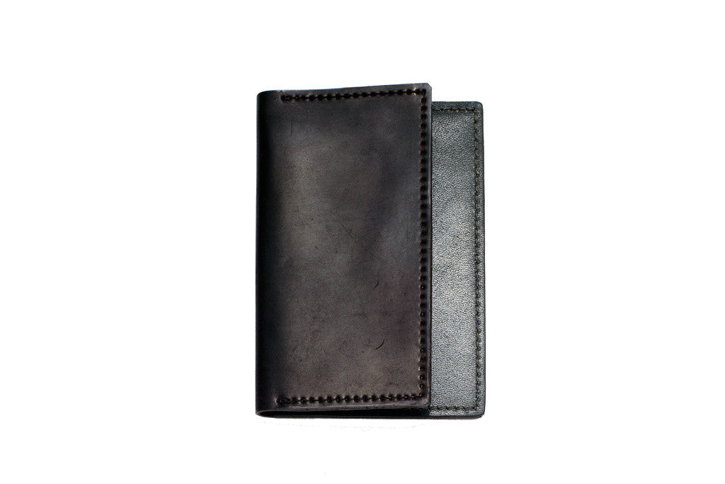 Shell Cordovan Card Case (Black on Slate)
