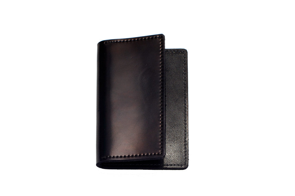 Shell Cordovan Card Case (Oxblood on Black)