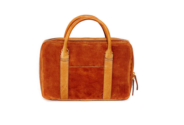 Tobacco Suede Slim Briefcase