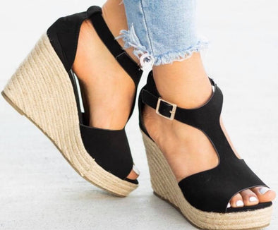 Espadrille wedge sandal-  Taupe or black-  True to size-
