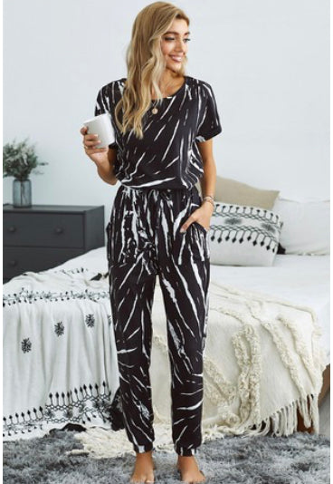 Black White Tie Dye Lounge Jumpsuit