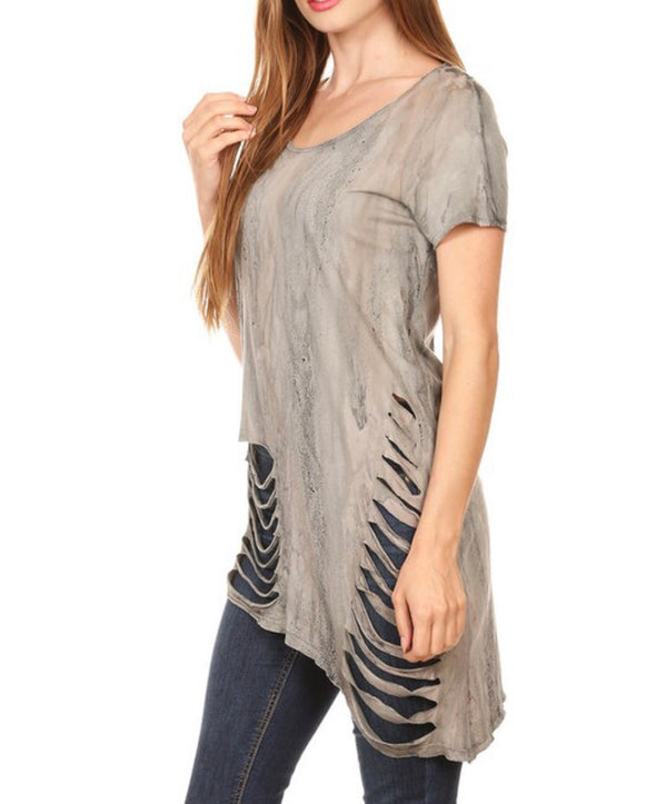 T Party Laser Cut Asymmetrical Top