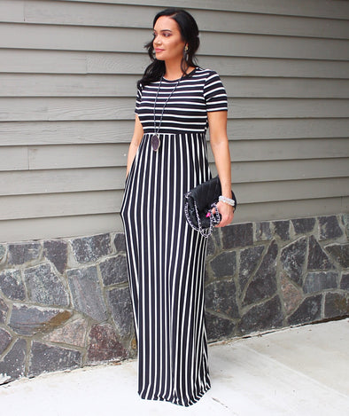 Stripped Paneled Maxi Dress with Hidden Pockets Made in USA