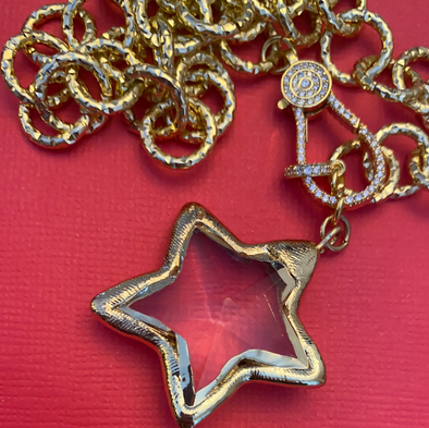 Gold Chain Star Necklace 22""