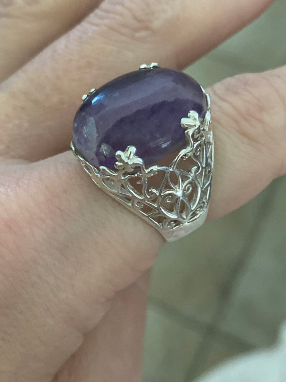Sterling Silver Amethyst Lace Ring SZ 8