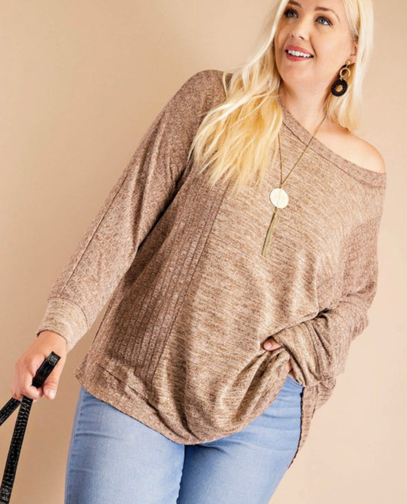 Chestnut Ribbed Knit Top