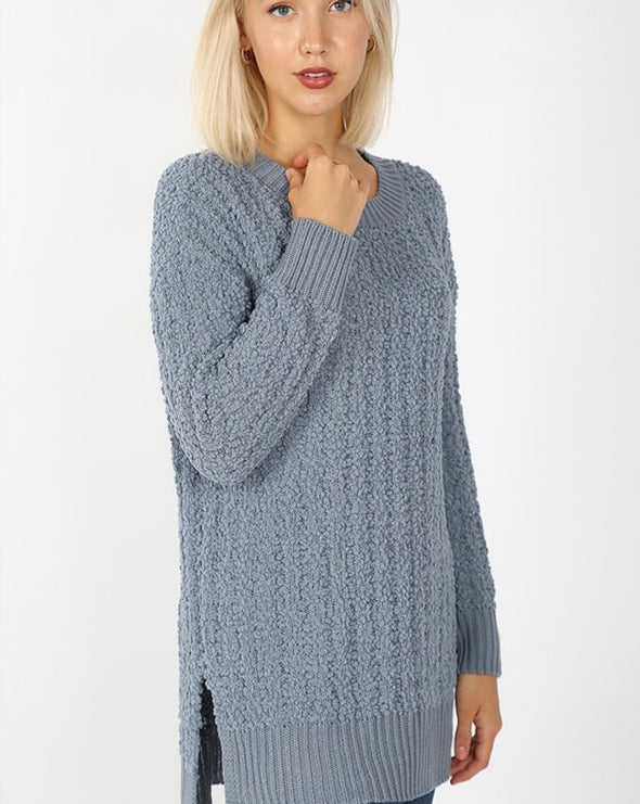 Popcorn Sweater Side Slit