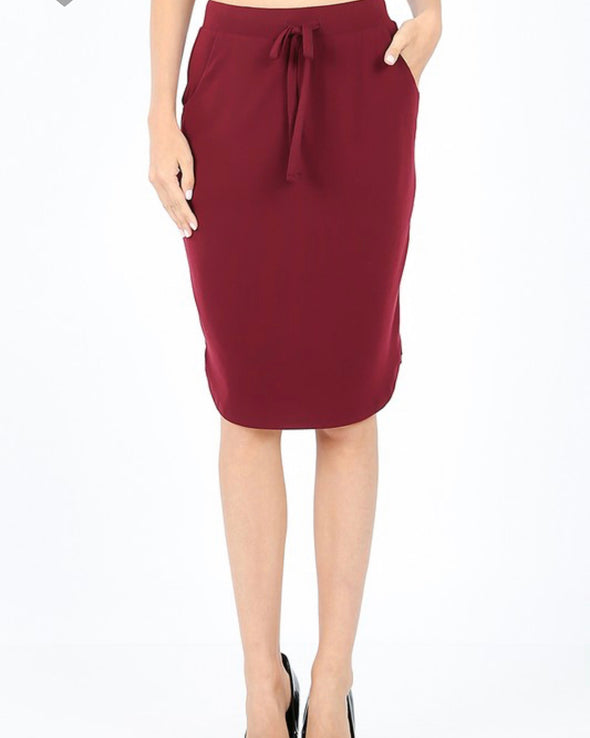 Tulip Hem Skirt With Pockets