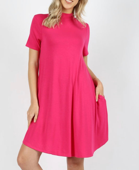 Mock Neck Short Sleeve Dress With Pockets