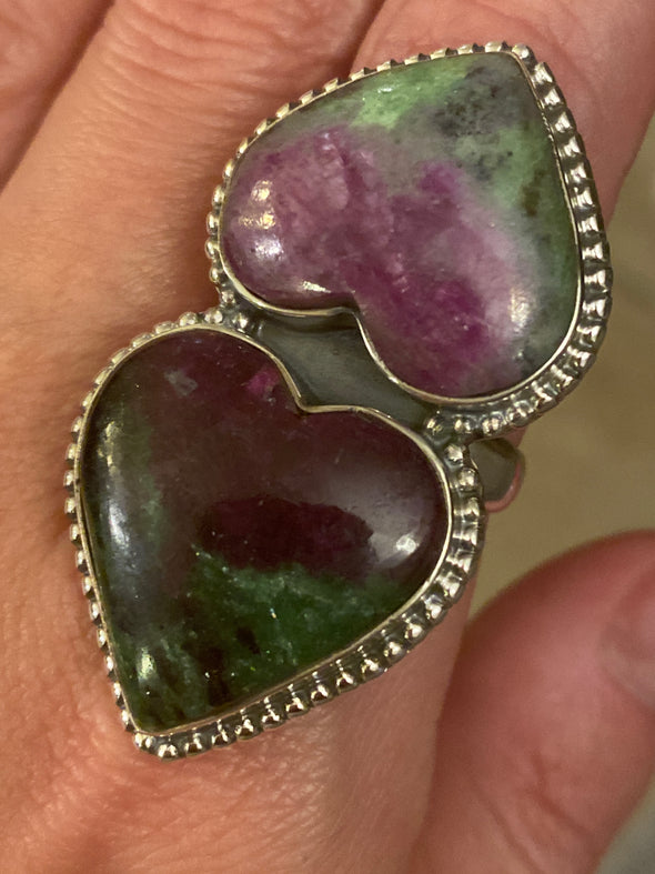 Sterling Silver Ruby Zoisite Double Heart Ring SZ 10