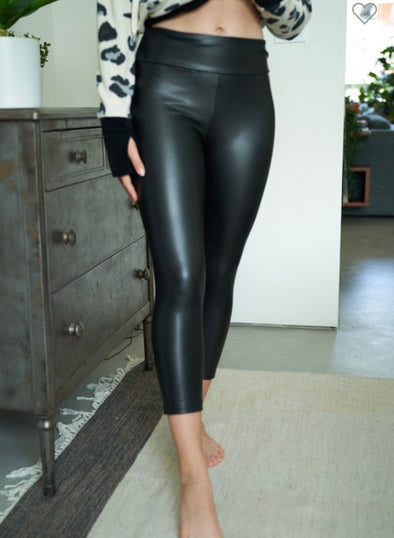 White Birch Cropped Faux Leather Leggings