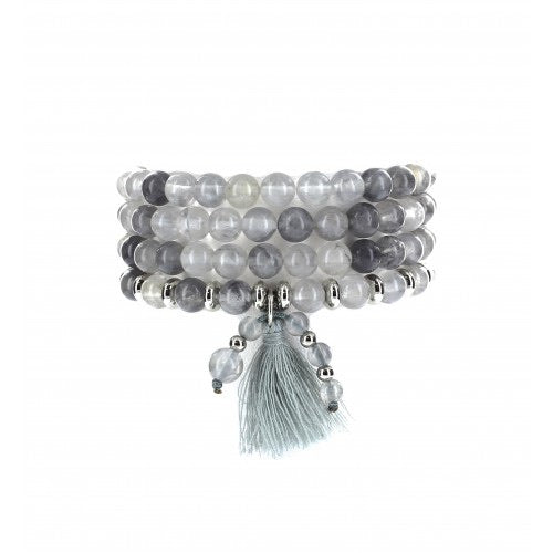 Mala Beads Bracelet Grey Agate with Tassel