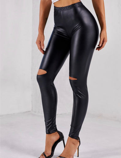 Faux Leather Knee Cutout Leggings