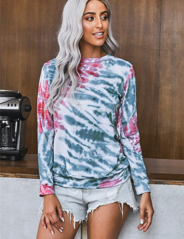 Rose And Blue Tie Dye Top