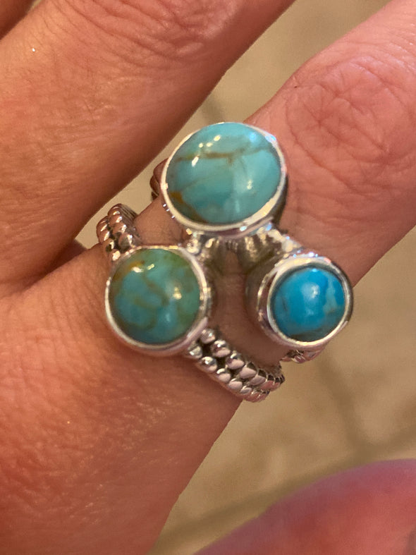 Sterling Silver Three Stone Artisan Turquoise 9.5 Ring