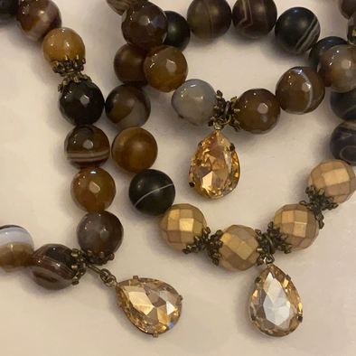 Brown Banded Agate Faceted Stone