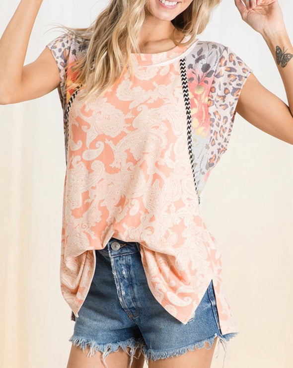 Paisley Contrast Sleeve Top