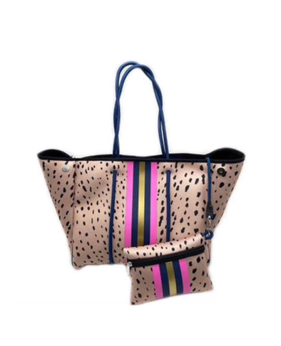 Neoprene Tan Pink Spotted Bag With Pouch