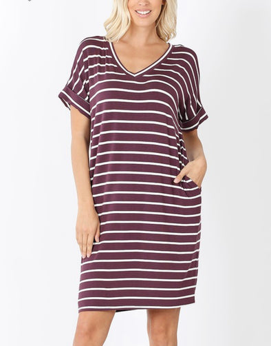 Eggplant Stripe Dress