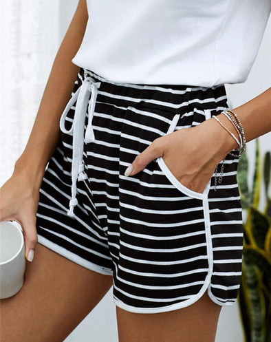 Black White Striped Shorts with Pockets